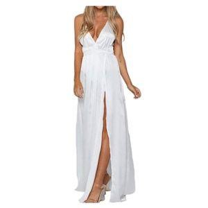 Women's Sexy Deep V Neck Backless Split Long Maxi